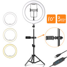 10inch LED Video Ring Light Selfie Lamp With Phone Clip And Tripod Stand For YouTube Live Lighting Shooting Photography Studio