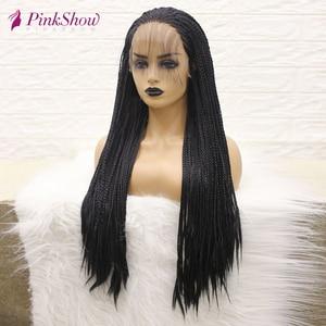 Image 3 - PINKSHOW pelucas trenzadas negras para mujeres negras, sintético largo peluca con malla frontal, fibra resistente al calor, peluca con trenzas naturales con pelo de bebé