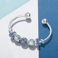 NEW Original 100% 925 Sterling Silver Open Bracelet Set Blue Charm Bead For Send Woman Gift Adjustable DIY Bracelet Bangle