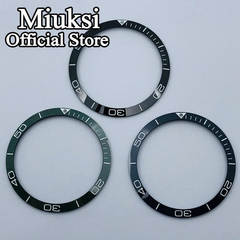 Miuksi 39mm black/dark blue/green bezel Insert ceramic bezel watch accessories fit 41mm men's watches