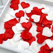 100 шт 3,5 см DIY сердце свадебные украшения из лепестков Атлас в форме сердца тканевый искусственный цветок лепестки Свадебные украшения