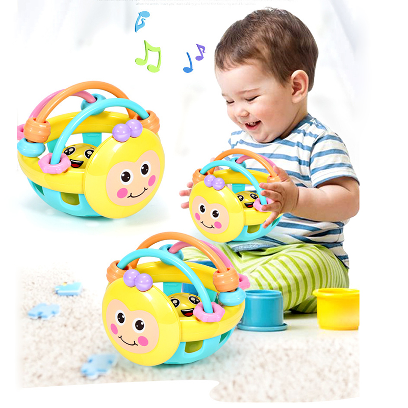 Baby Rattle Toys Bee Cartoon Ball Hand Knocking Toys Dumbbell Early Educational Toy Baby Activity Grasping Toy Hand Bell Rattle