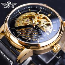 Winner Golden Mechanical Watches Men Automatic Hollow Analog Military Black Genuine Leather Clock Relogio Masculino Montre Homme