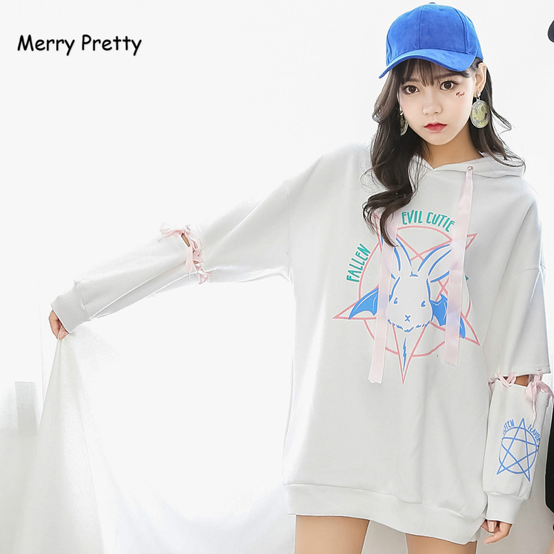 Merry Pretty Harajuku Cute Lolita Women Tumblr Sweatshirt Rabbit Pentacle Print Lace Up Hoodies Loose Tracksuit Pullover Female