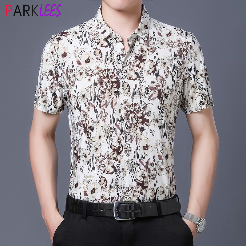 Stylish Floral Print Mens Dress Shirts 2020 Summer New Slim Fit Short Sleeve Shirt Men Casual Smooth Milk Silk Like Camisas 4XL