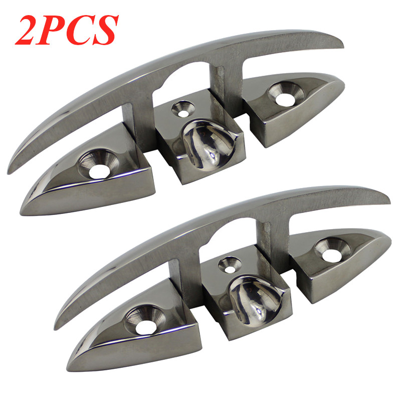 2PCS 6 Inch SS316 Boat Flip Up Folding Pull Up Cleat For Marine Boat Yacht Accessorie 316 Stainless Steel Flip Up Cleat 155x52mm