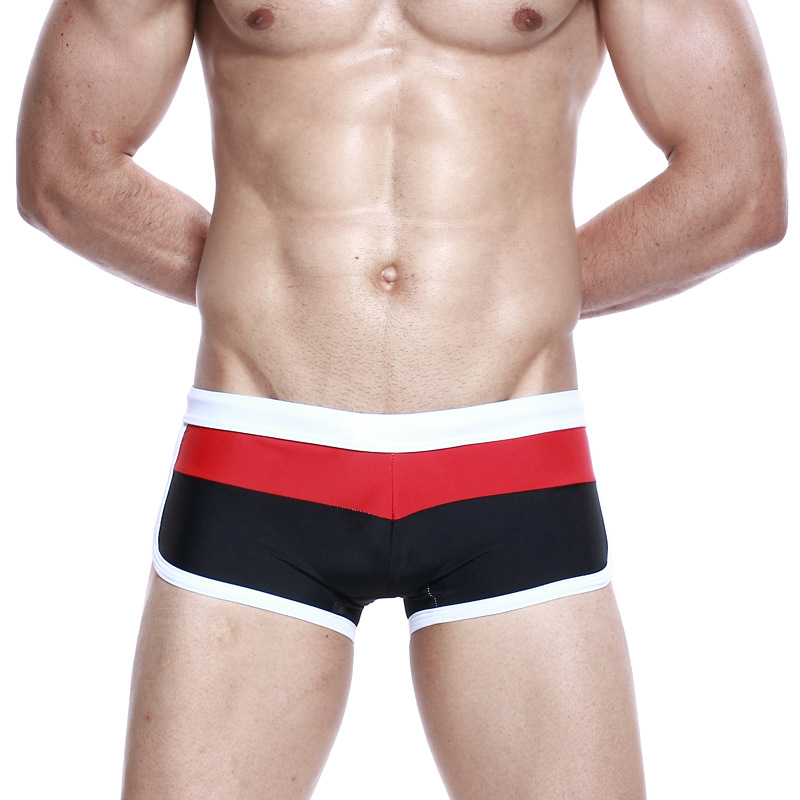 Men Small Boxer Swimming Trunks Sexy Fashion Low-Rise Skinny Jeans Swimming Trunks Quick-Dry Four Corners Swimming Trunks Bathin