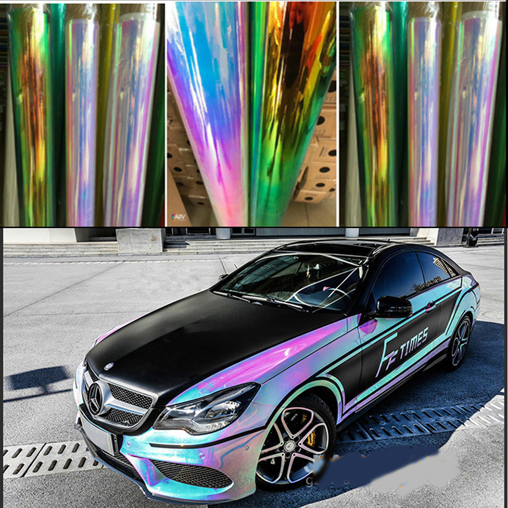 AuMoHall Holographic Rainbow Chrome Car Sticker Laser Plating Car Body Wrap Film DIY Car Styling(China)