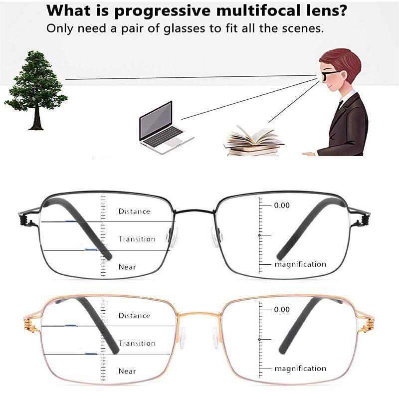 No Screw Titanium progressive Reading glasses Men Women Anti-Blue Light multifocal presbyopic glasses optical frame Eyewear 1.5