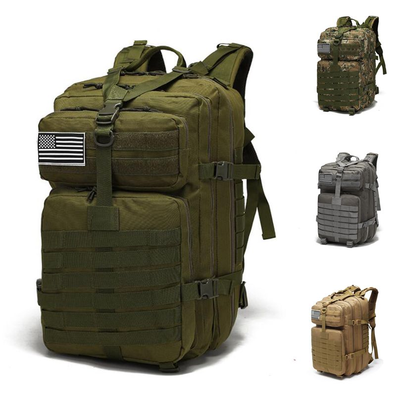 45L Military Tactical Backpack Army Assault Bag Outdoor 3P Molle Pack Men For Trekking Camping Hiking Large Capacity Bags camo