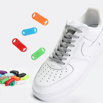 1 pair Reticulated woven Elastic Shoelaces Flat buckle lock No tie shoelace Sports competition Take a walk sneakers Lazy lace