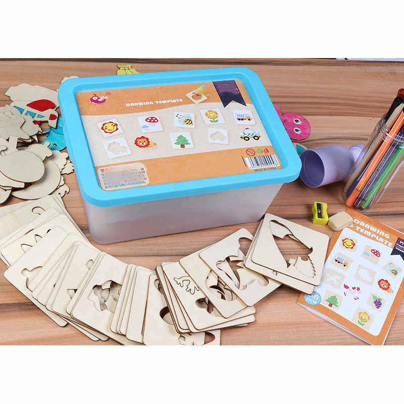 112pcs Coloring Book Paint Learning Coloring Board drawing board School Paint Board Tools Educational Wooden Drawing toy