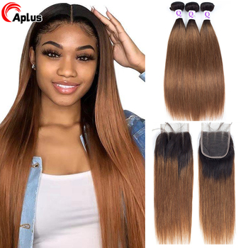 Ombre Human Hair Bundles With Closure Honey Blonde T1b 30 27 1b Burgundy 99j Malaysian Ombre Straight Brown Bundles With Closure