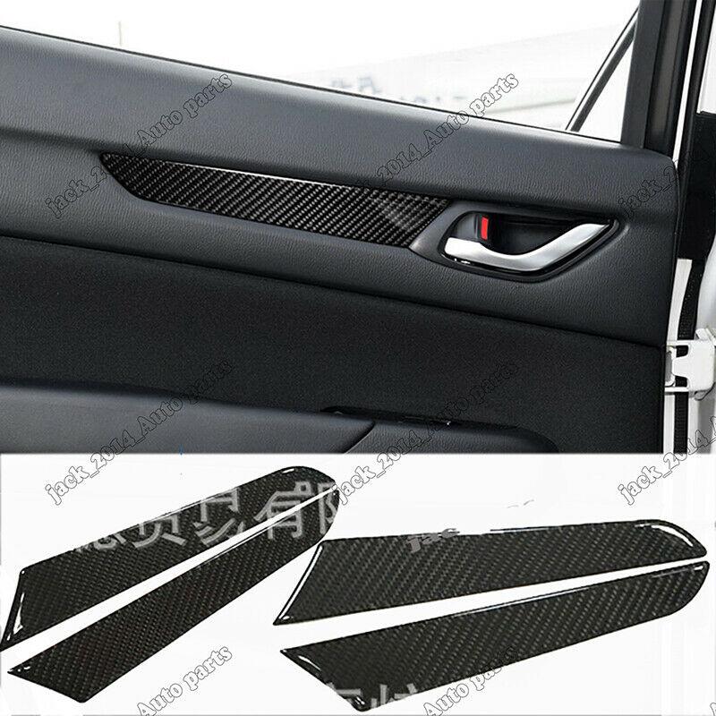 Real Carbon Fiber Inner Side Door Armrest Cover Trim For Mazda CX-5 CX5 2017-2018