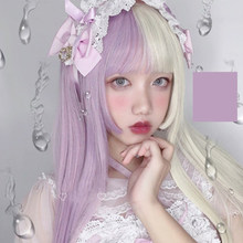 SHANGKE Synthetic Wigs Lolita Purple Potato Color Long Straight Hair Doll With Bangs Heat Resistant Fiber Hair Cosplay Wig(China)