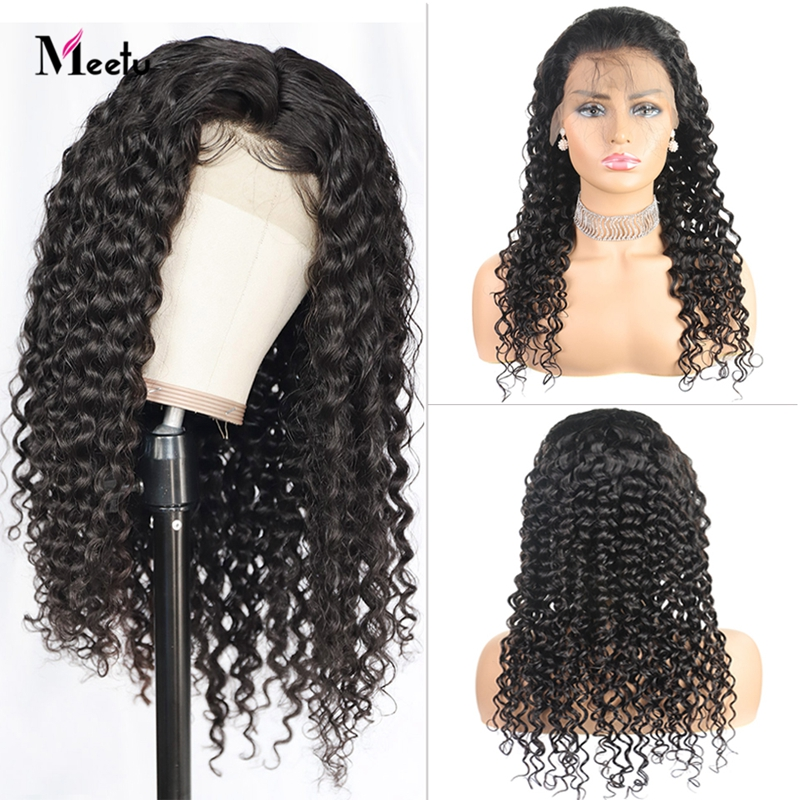 Meetu Hair 4X4 Lace Closure Wig Brazilian Deep Wave Human Hair Wigs Pre Plucked With Baby Hair 8-26 Inch Remy Wigs 180% Density
