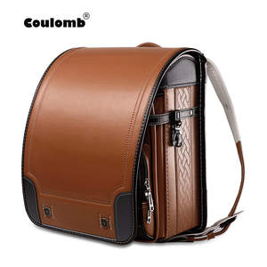 Coulomb School-Bag Orthopedic-Backpack Baby-Bags Pu-Randoseru Children Boys Students