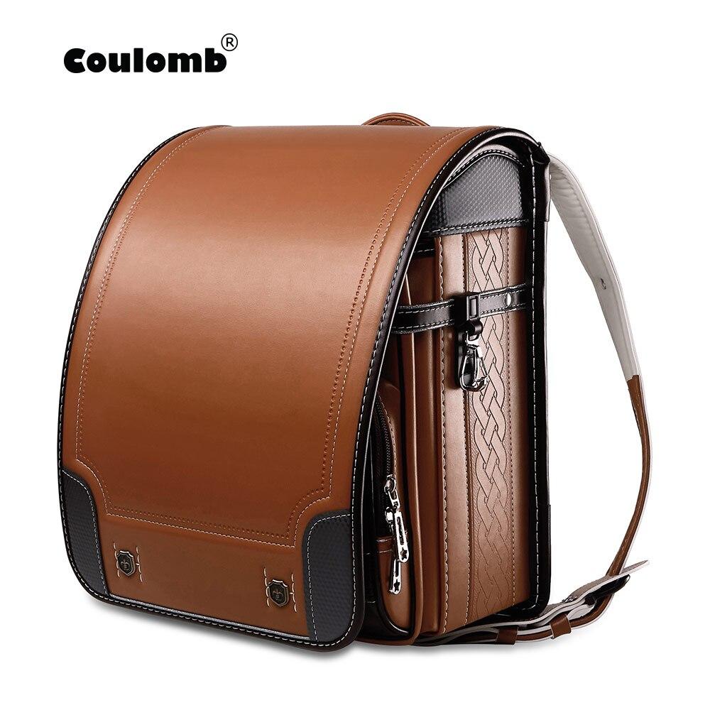 Coulomb Children Japan School Bag For Boys Kid Orthopedic Backpack For School Students Bookbags Japan PU Randoseru Baby Bags