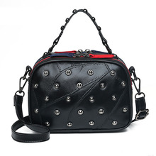 цены 100% Genuine Leather Dot Rivet Handbag For Women Punk Style Boston ladies Panelled Double-sided Zipper Shoulder Crossbody Bag