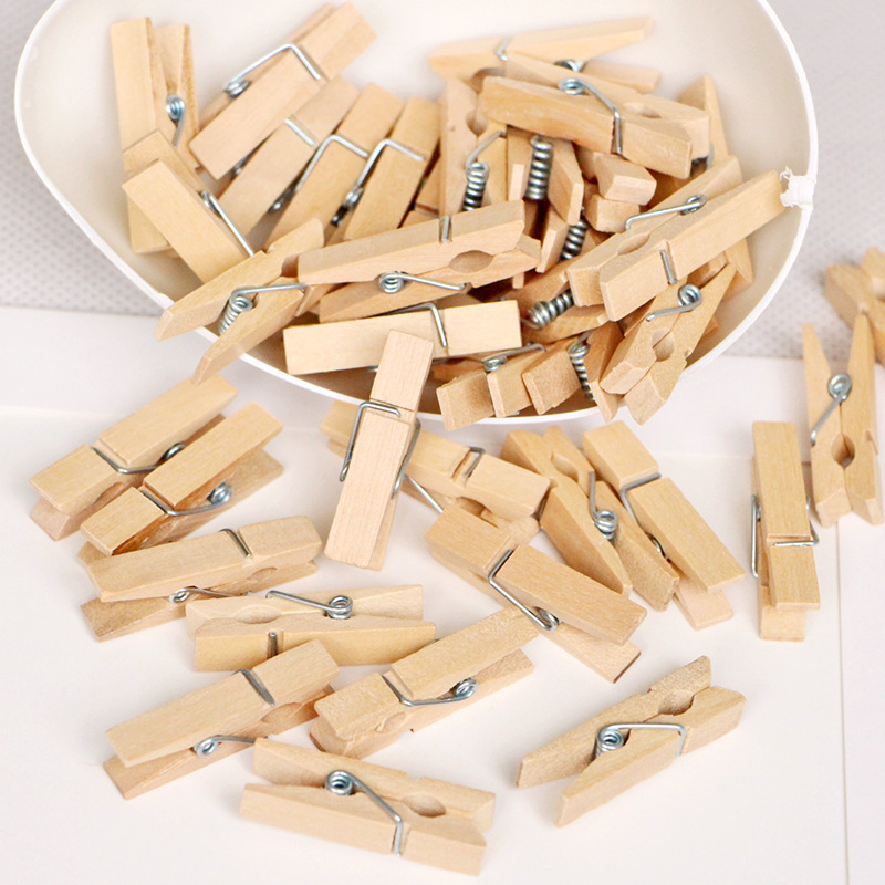 100PCS Wedding Decoration Mini Wood Clips Clothespin Clips For Photo Paper Handicrafts Birthday Baby Shower Party Decoration