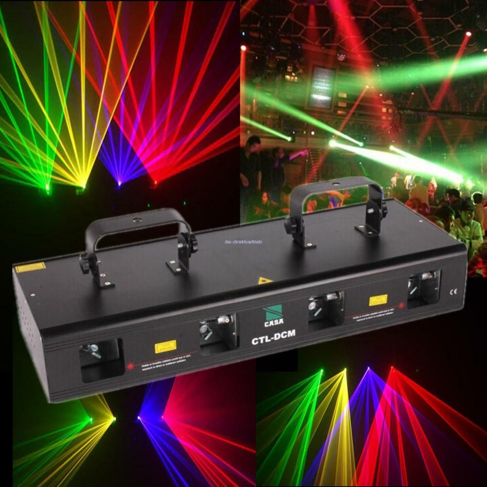 460mW 4 Lens Xmas RGPY Stage DMX Laser Light Wedding Party Show DJ Disco Club Effect Lighting System Ship From EU