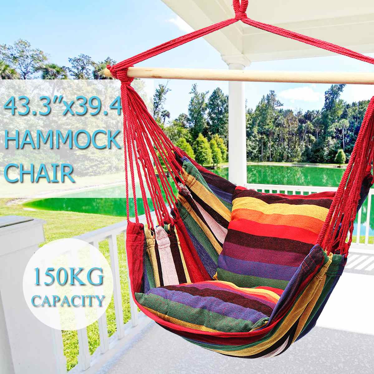 Hammock Chair Swing Chair Seat Travel Camping Hammock Outdoor Garden Adults Kids Hanging Chair With Pillow
