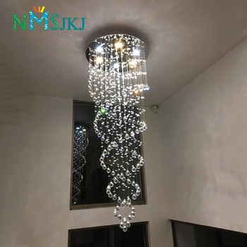 Modern LED Double Spiral Crystal Chandelier Lighting for Foyer Stair Staircase Bedroom Hotel HallCeiling Hanging Suspension Lamp duplex building stair crystal chandelier spiral villa foyer led chandeliers light lighting free shipping