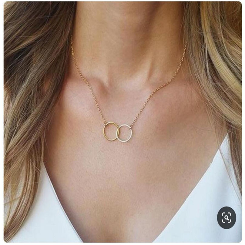 New Fashion Jewelry Pentagram Pendant Clavicle Chain Vintage Star Crescent Three-Layer Women Necklace Choker 4O24 (9)