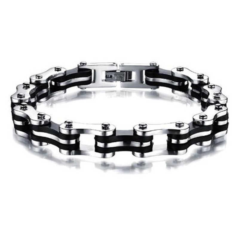 Nouveau Punk bijoux spécial motard vélo moto chaîne hommes Bracelets Bracelets 9mm titane acier Bracelet