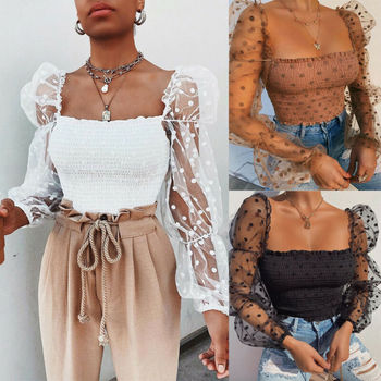 New Spring Summer Polka Dot Lace Women Mesh Shirts Fashion Slim Square Collar Tops Female Shirt