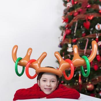 Regalos navideños de Año Nuevo, asta de Reno inflable de calidad, anillo con diseño de sombrero, juegos Toss, juguetes, decoración de fiestas, juguetes de juegos para fiestas
