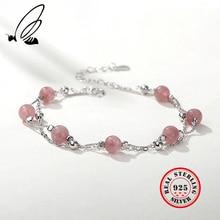 925 Sterling Silver Bracelets For Women Platinum Plated Gemstone Aquamarine Bead Pulseras Plata De Ley Mujer Fashion Jewelry