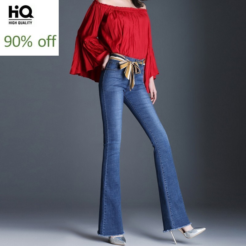 Spring New Women Tassel Flare Jeans Fashion High Waist 2020 Stretch Slim Denim Trousers Embroidery Flower Vintage Office Jeans