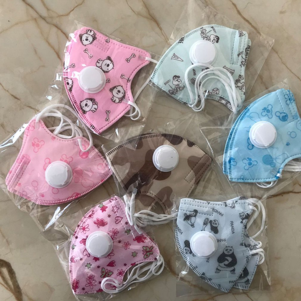 Disposable Children Mask Breathing Valve N95 Meltblown Cloth Dustproof Cartoon Five-Layer Protective Mask For 0-10 Years Kids