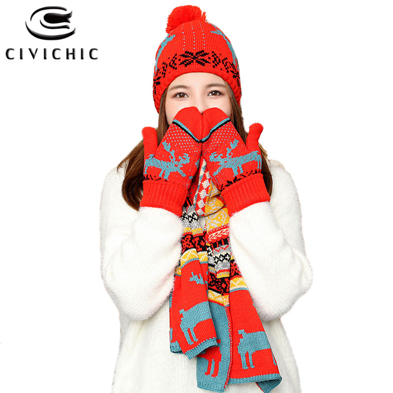 Chic Autumn Winter Christmas Knit Hat Scarf Gloves 3 PCS Set Warm Fleece Xmas Pompon Beanies Crochet Elk Shawl Cap Mittens SH115