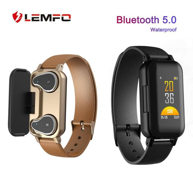 2019 New Smart Watch Bluetooth Earphone Men Women Heart Rate Blood Pressure Monitoring LEMFO M1 Smart watch Men for Android IOS