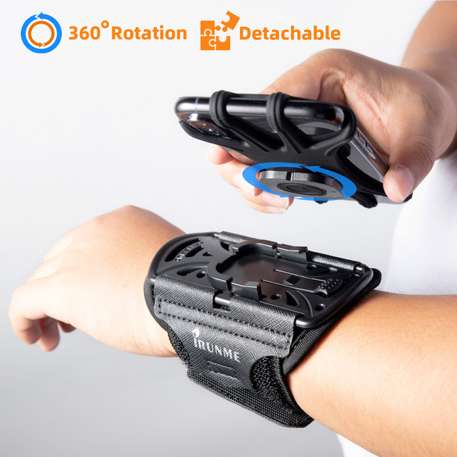 Removable rotating sports phone wristband running wrist bag generation driving takeaway navigation arm bag fitness cycling trave 1