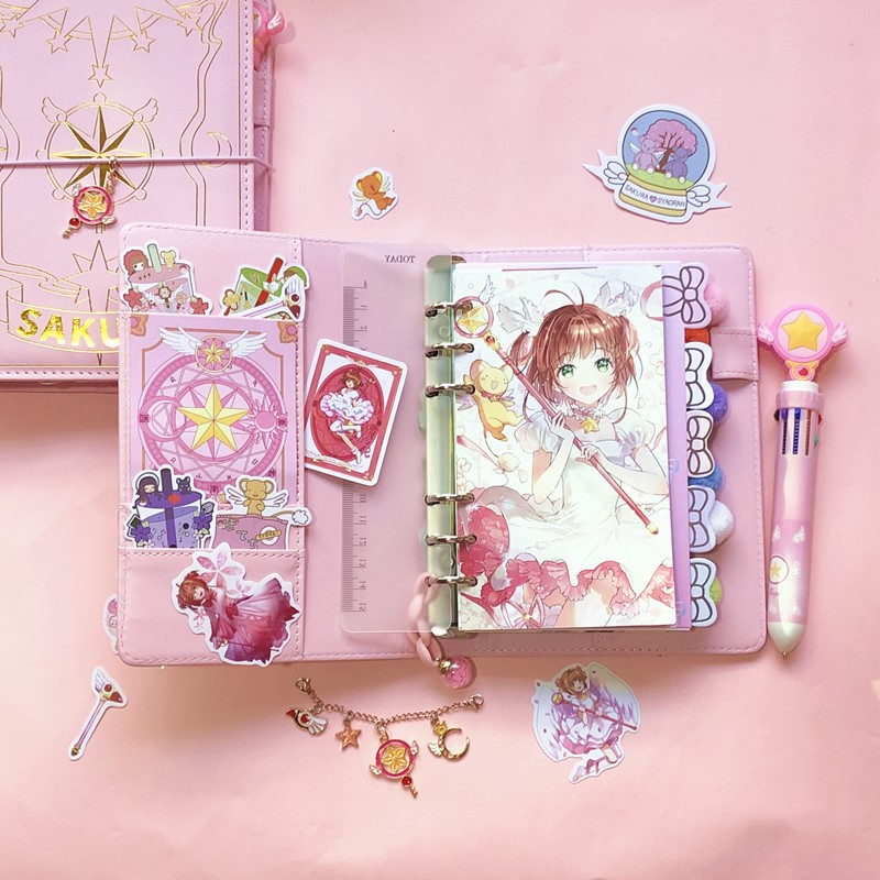 A6 Ring Binder Notebooks Sakura Pink Notebook Planner Journal Agenda Organizer Schedule DIY Personal Diary Book Stationery Gift