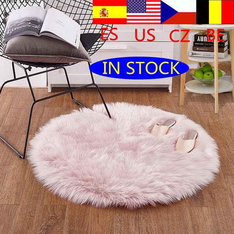 Juneiour alfombra de piel sintética de oveja suave rosa, alfombra de dormitorio, cubierta de Silla, alfombra peluda cálida de lana Artificial, asiento, alfombras de pelo Textil