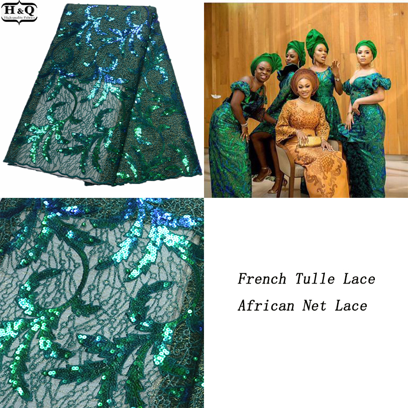 Green Tulle Lace Fabric African Net Lace High Quality 5 Yards/Piece Nigerian Embroidered Lace Fabric French Sequins Lace 2020