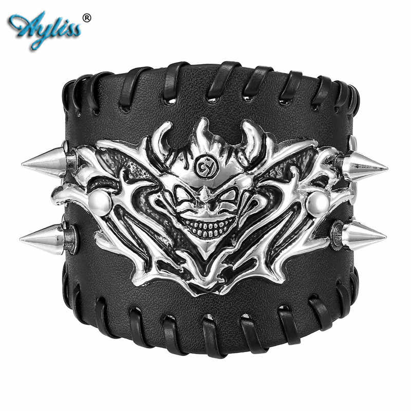 Ayliss 1pc Hot Style Punk Pu Leather Skull Design Bracelet Wristband Adjustable Size 6.5 to 8 Inches Men's Cool Bracelet Jewelry