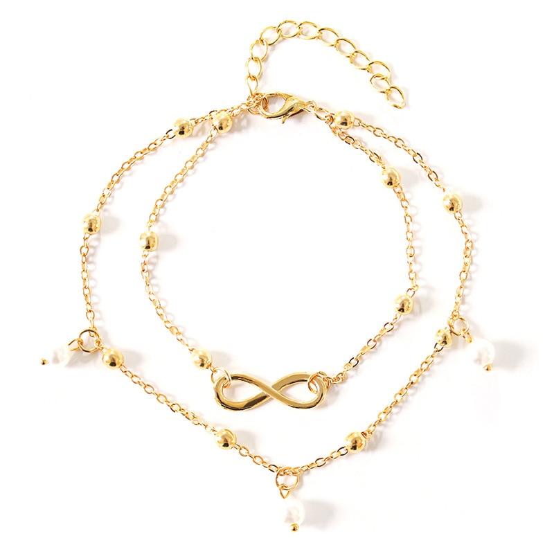 Ladies Jewellery Anklets Artificial Pearl Women Anklet Bracelets Fashion Trendy Bangle Gold Color Zinc Alloy Bracelet Pulseras