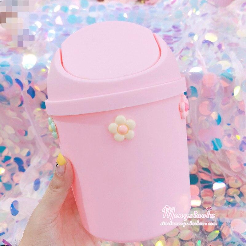 Mega Sale 22a9f5 Kawaii Pink Strawberry Flower Waste Bin Desktop Portable Plastic Mini Shake Cover Garbage Basket Sakura Home Bedroom Trash Can Cicig Co