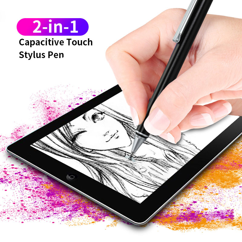 2 In 1 Stylus For Smartphone Tablet Thick Thin Drawing Capacitive Pencil Universal Android Mobile Screen Metal Note Touch Pen
