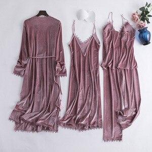 Однотонная Пижама, Повседневная Мягкая Домашняя одежда, нижнее белье-кимоно, халат, женское осеннее велюровое ночное белье с длинными рукав...