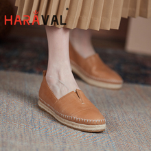 HARAVAL Spring Autumn Women Loafers Casual Shoes Flat With Rounde Toe Black Brown Genuine Leather Fashion Flat Female Shoes A172