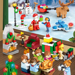 1 box Christmas figures Christmas tree elk deer santa clause building blocks bricks toys educational DIY assembled toys blocking