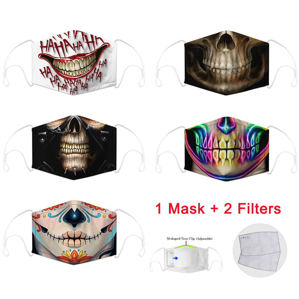 Reusable Anti Dust PM2.5 Mouth Mask Activated Carbon Filter Mouth-muffle Bacteria Proof Windproof Face Masks Skull Teeth Pattern