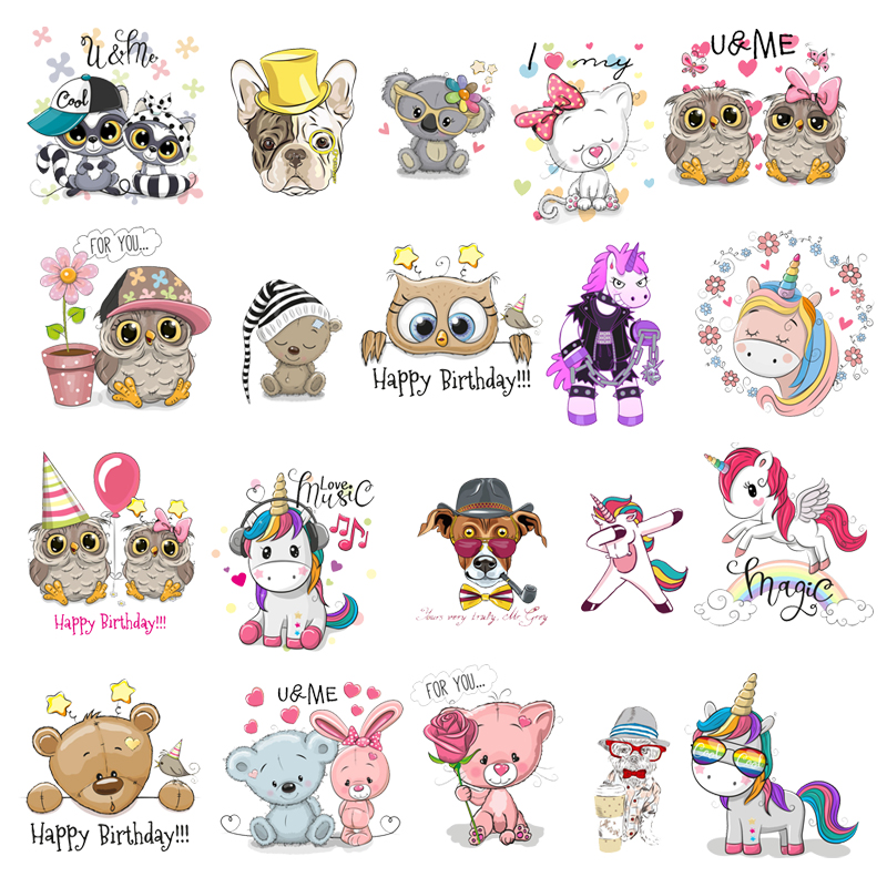 Cute Small Animal Unicorn Owl Dog Cat Patch for Clothing Sticker for Children