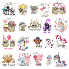 Cute Animal Unicorn Owl Dog Cat Patch for Clothing Sticker for Children Boy Girl DIY Patches T-shirt Heat Transfer Vinyl O(China)